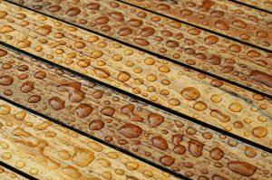 Nasses Holz vom Regen