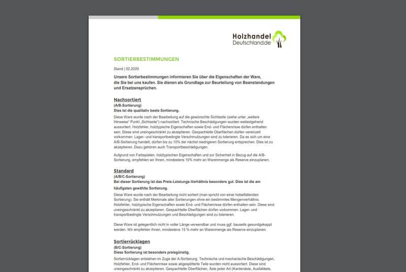 Ein Screenshot der PDF-Datei der Sortierbestimmungen von Holzhandel-Deutschland.de
